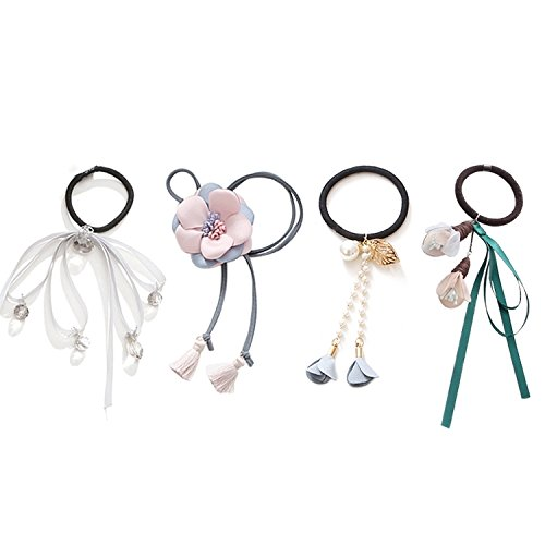 - 2018 summer models hair ring elastic rope ponytail holder suit elegant hair accessories korea headdress hair tie rubber band hair rope flower head rope ponytail holder jewelry (c # 3057 sen female mod