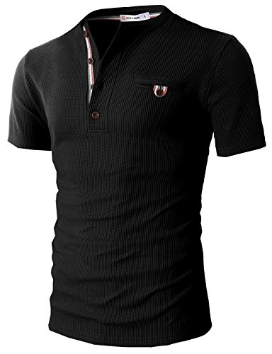 H2H Mens Casual Henley Slim Fit Short Sleeve Waffle Shirts With Bound Pocket Black US L/Asia XL (Bound Neck)