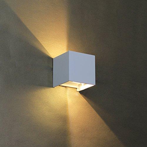 BAYTTER® 6W warmweiß Wasserdichte IP65 LED Wandleuchte Wandlampe Wandbeleuchtung mit einstellbar Abstrahlwinkel, aus Alumimum Up und Down Design 3100K [Energieklasse A++]