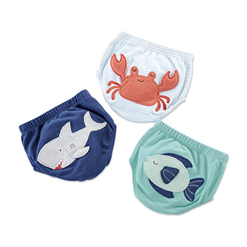 Baby Aspen Under The Sea 3 Piece Diaper Cover Gift Set for Boy ()