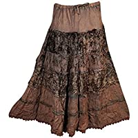 Mogul Womans Tiered Skirt Velvet Vintage Lace Medieval Bohemian Gypsy Skirts