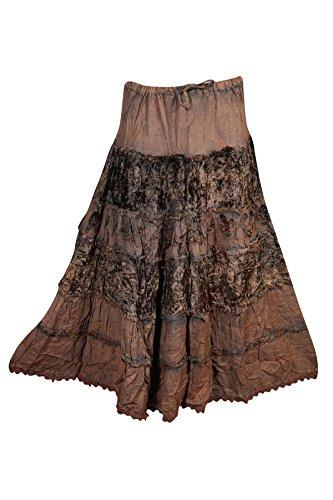 irt Velvet Rayon A-Line Bohemian Gypsy Flare Long Skirts (Brown 2) (Rayon Velvet Skirt)