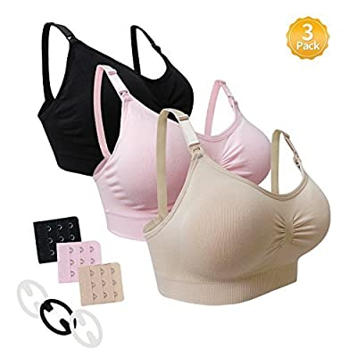 Nursing Bra Maternity 3 Pack Seamless S-XL With Removable Spill Prevention Pads