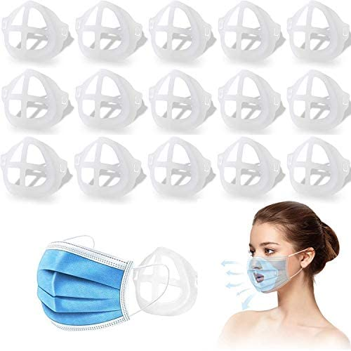 15pcs Clear Face Inner Support Frame Homemade Cloth Cool Silicone Bracket More Space for Comfortable Breathing Washable Reusable (15pcs) (15pcs)