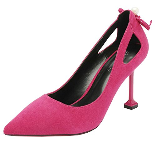 IDIFU Womens Sexy Bows Hollow Out High Stiletto Heels Pointy Slip On Pumps Rose Red 3l5qAGtj