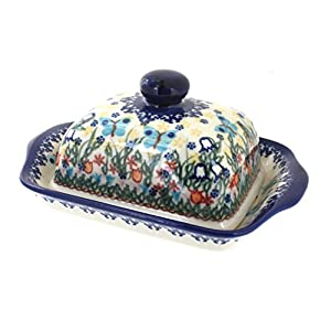 Blue Rose Polish Pottery Garden of Eden Butter Dish
