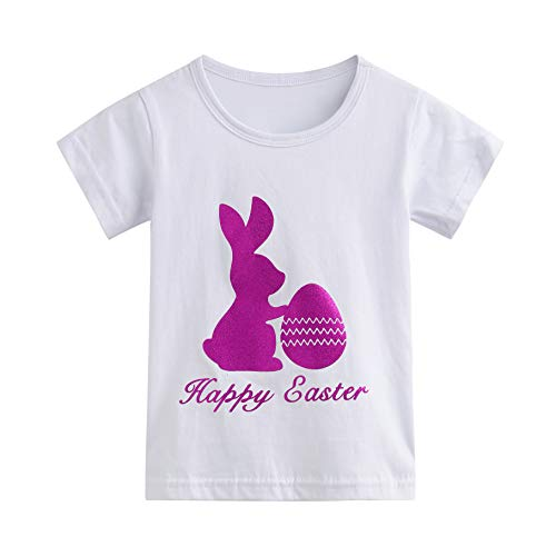 Herbow Toddler Baby Easter Bunny Tees for Kids Girls Boys Cute Short Sleeve Cotton T-Shirt