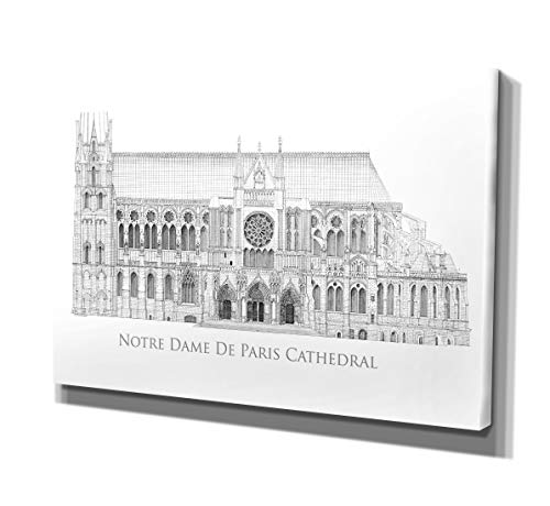 Notre Dame Framed Art - Renditions Gallery Drawing of Notre Dame De Paris Cathedral Canvas Prints Wrapped Gallery Wall Art | Stretched and Framed Ready to Hang 18X27,