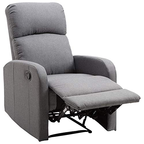 HOMCOM Linen Fabric Manual Recliner Lounger Chair with Footrest - Grey