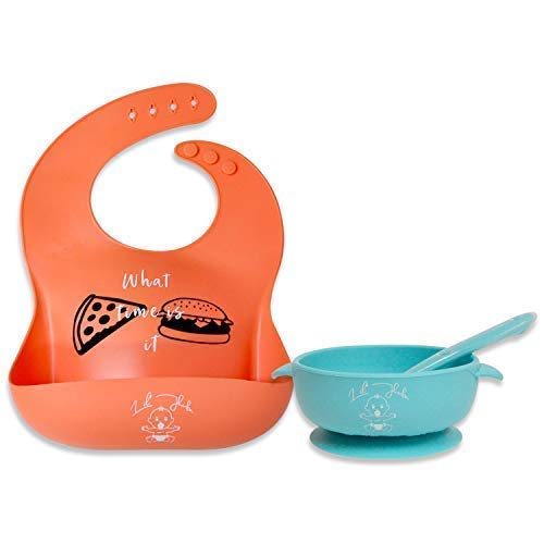 - Baby Silicone Bib & Bowl - Stay up Food Bowl Super Suction Base & with Soft Spoon Aid Set - Quick Adjustable Bib Easy Wipe Clean - Wide Deep Pocket Stays Open Provide Full Cover (Blue & Living Coral)