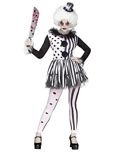 Black And White Halloween Costumes For Women (Fun World Adult Women's Killer Clown Costume, Black/white, Small/Medium)