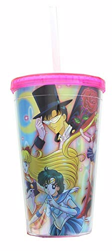JUST FUNKY Sailor Moon Cast Holographic Foil 16oz Carnival Cup w/ Straw & Lid ()