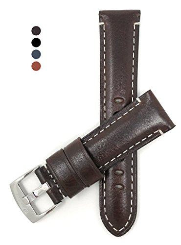 Elegant 22mm Watch Strap Band, Glossy Finish, Double Stitching, Comes in Black, Brown and Blue - Fossil Brown Strap Mens