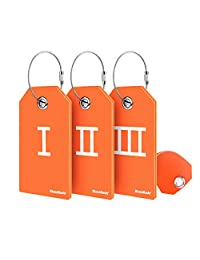 BizoeRade 3 Pcs Roman Numerals Luggage Tags for Suitcases with ID Cards - Orange