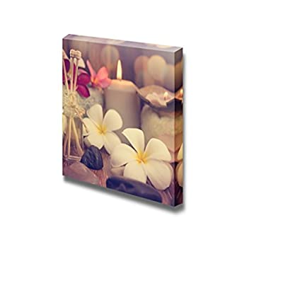 Wellness and Spa Concept with Candles Frangipani Flower Sandalwood and Rattan Sticks on Massage Table in Vintage Retro Style - Canvas Art Wall Art - 24