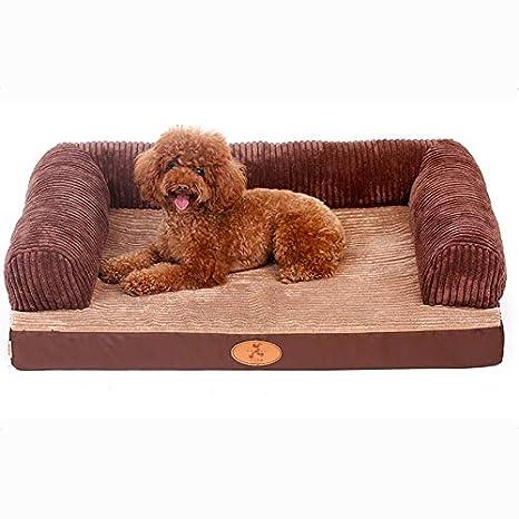 Cama para mascotas, Tela Oxford + Esponja/Mediano/Grande para Perros Cuatro Estaciones del colchón de Almohada Caliente Universal, sin colapso - Color café: ...