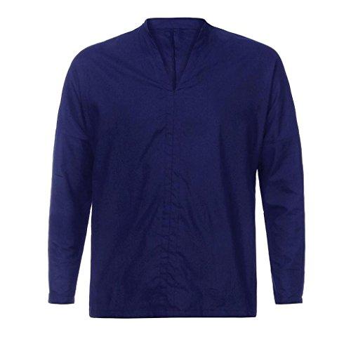 Blusa Hombre Yesmile Camiseta de Manga Larga de algodón de Lino Holgada de algodón de Manga Larga para Hombres Tops de Blusa: Amazon.es: Ropa y accesorios