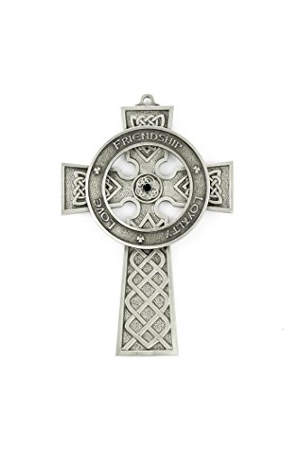 Pewter Love Friendship and Loyalty Celtic Wall Cross with Green Stones, 5 Inch