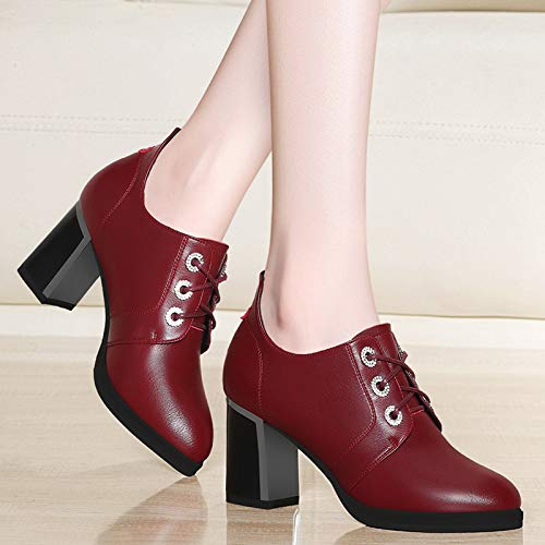 heels Women's Work shoes autumn ' ' Black high shoes shoes and shoes heel Ladies AJUNR winter Thick EXq4ER