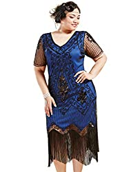 Black & Blue 1920s Sequin Art Plus Size Dress with Sleeve