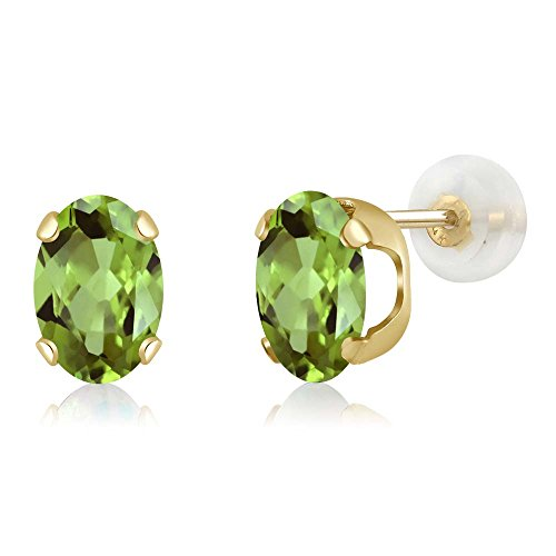 14K Yellow Gold Green Peridot Stud Earrings 1.60 Ctw Oval 7X5MM