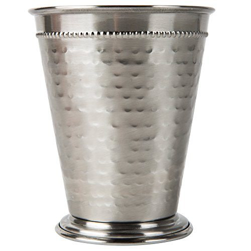 Core 16 oz. Stainless Steel Mint Julep Cup with Hammered Finish and Beaded Detailing - 4/Pack by TableTop King