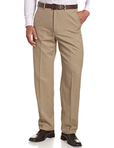 Sportoli Men's Cool Classic Fit Hidden Expandable Waist Plain Front Dress Pants - British Khaki (Size 34W x 29L)