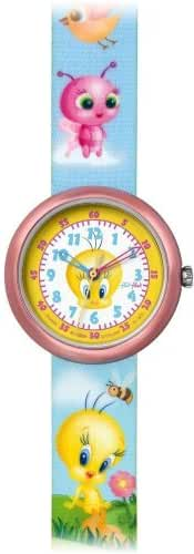 Swatch Kids' ZFLN045 Quartz White Dial With Yellow Rim Aluminum Case Watch