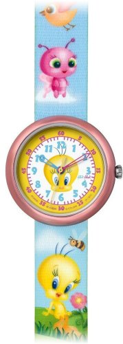 Price comparison product image Swatch Kids' ZFLN045 Quartz White Dial With Yellow Rim Aluminum Case Watch