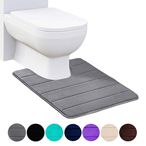 Buganda Memory Foam Contour Toilet Bath Rug, U-Shaped Non Slip Absorbent Thick Soft Washable Bathroom Rugs, Floor Carpet Bath Mat for Bathroom Sink Toilet (20