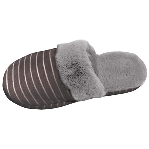 Best Selling Gray Large Prime Closed Toe Non Skid Slip-On Flat Lined Softest Indoor Home Night Sleep Comfort Last Minute Modern Princess Slipper Shoe Gift Idea For Sale Women Ladies (Size L Gray)