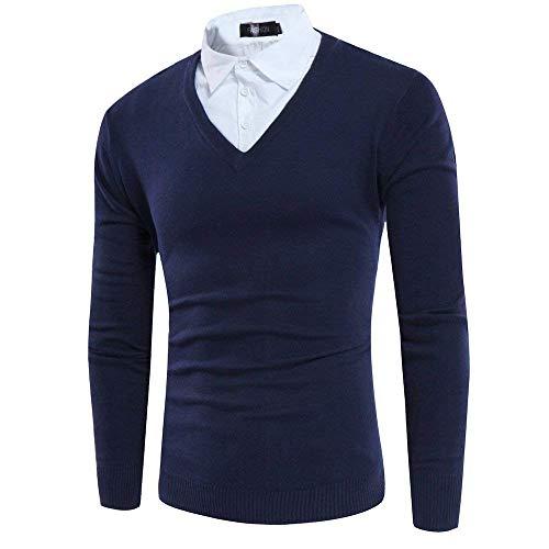 Mode Automne Unie Manches Pour Élégante Mieuid Chic Hommes Tricot Longues À Printemps Blue Navy Pull Couleur En qHHfyO0P