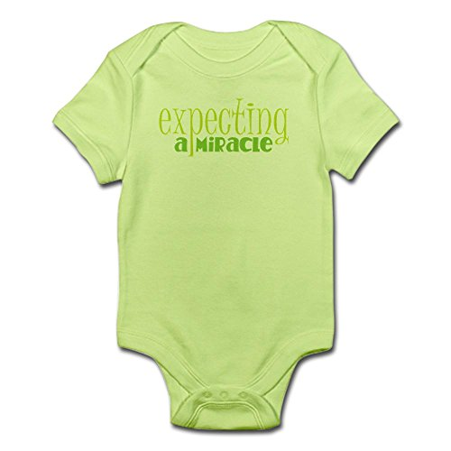 CafePress - With a bun in the oven a miracle GREEN Body Suit - Cute Infant Bodysuit Baby Romper