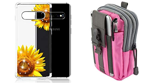 Bemz Slim Klarion Phone Case for Samsung Galaxy S10+ Plus (Sun Flower/Silver Electroplating) with Tactical Pouch (Pink/Gray) and Atom Cloth