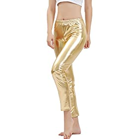 - 41rlWUIdAnL - GAIBEST Women Metallic Color Shiny Lycra Stretch Leggings Leotard