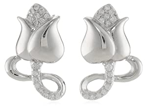 Sterling Silver Simulated Diamond Rose Stud Earrings from PAJ, Inc