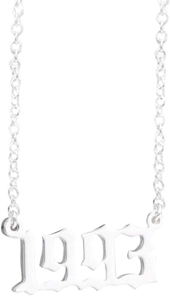 SADUORHAPPY Birth Year Number Necklace Silver Pendant Necklace for Women and Girl Birthday Gift Stainless Steel Jewelry