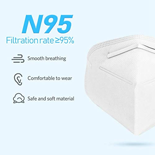 Pack of 50 - N95 Surgical Masks Anti Dust Mask Medical Face Mouth Mask- Breathing Protection Pm2.5 Breathable Face Antiviral Masks