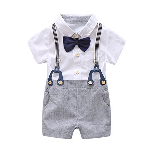 Baby Boys Gentleman Outfits Suits, Infant Short Sleeve Shirt+Bib Pants+Bow Tie Overalls...