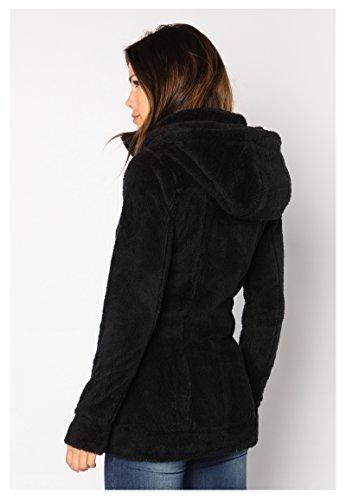 Polar Cuello Con Alto Tela Abrigo PelucheLargo Sublevel De Mujer Forro Negro1 NwkXn0P8OZ