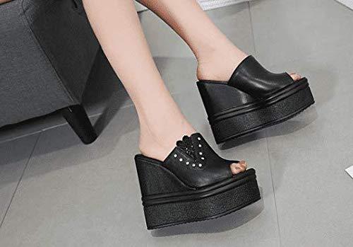 Awxjx Awxjx Awxjx estate sandali da impermeabile pendenza confortevole con tacco alto tacco medio, donna, Nero, 5.5 US 35.5 EU 3 UK 959e47