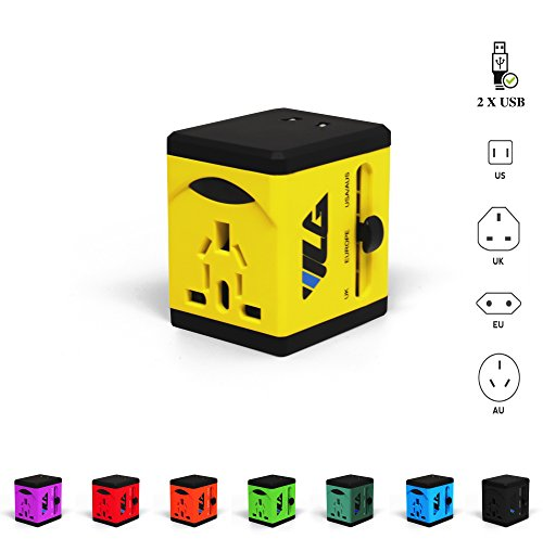 Travel Adapter and Charger by VLG - USB Charging Ports - Super Fast Charging - All International Standard Cell Phone/Desktop/Laptop/Touch Screen Tablet/Computer/GPS Chargers (Sunny Yellow) by VLG Products