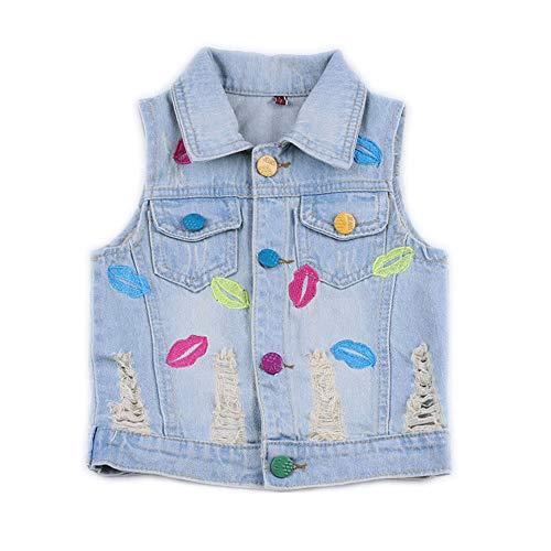 Star Flower Little Big Girls Denim Jackets Coats Outwear (4T, Vest(Lips))