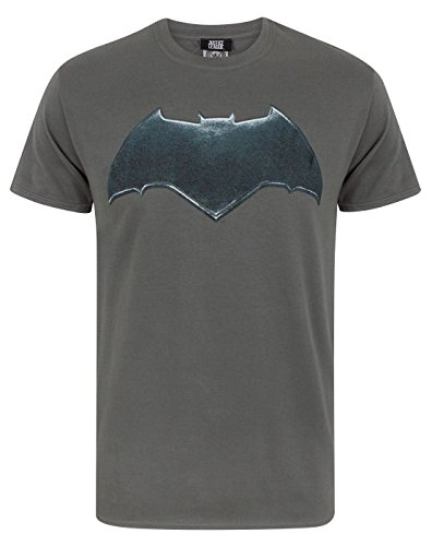 Justice League Batman Logo Men's T-Shirt (M) Charcoal