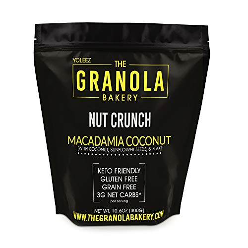 ELAN Roasted Macadamia Nuts Lightly Salted Granola - Premium Keto Dessert Healthy Snack, Low Net Carb, Paleo - Nut, Seed, Coconut and Ground Flax Cereal (9.5 Oz Travel Bag)