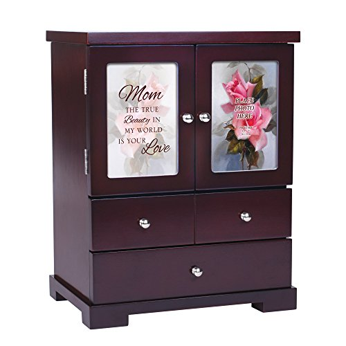 (Cottage Garden Mom True Beauty Is Your Love 12 x 10 Cherry Wood Finish Jewelry Armoire)