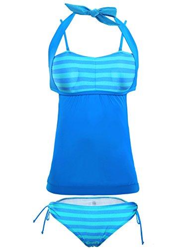 Minetom Bañador Tankini De Dos Piezas Mujer Bikini Top Verano Elegante Cómodo Beach Swimwear Multicolor Raya Halter Empalme Azul
