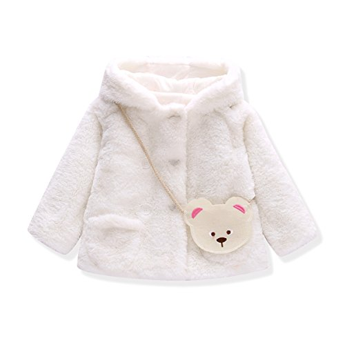 Baby Girls Fur Winter Warm Coat Jacket With Cute Bag Girls Thick Warm Clothes (0-6 months, White) (Baby Coat)