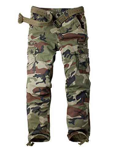 Must Way Men's Cotton Multi Pockets Cargo Athletic Fit Pant with Stretch C29 Camo 29 (Belt Camoflauge)