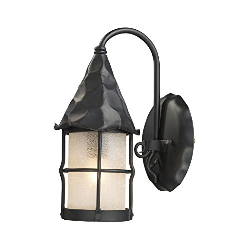 Alumbrada Collection Rustica 1 Light Wall Sconce In Matte Black And Scavo Glass